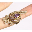 Luxurious ring of amethysts, topazes, solid silver 925 and bronze