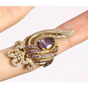 Lujoso anillo de amatistas, topacios, plata sólida 925 y bronce.