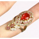 Ruby, topas, 925 solid esterling silver and bronze ring. Size 7,50.
