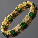 18K Gold plated tennis bracelet and green emerald zirconia.