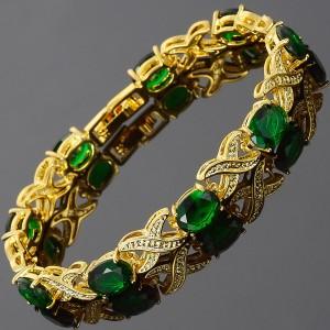 Pulsera de tenis chapada en oro de 18K y zirconia verde esmeralda.