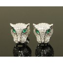 Panthers earrings witn emeralds, topazs and 925 solid sterling silver.