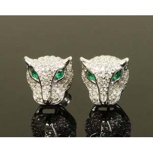 Pendientes de panteras con esmeraldas, topacios y plata sólida de 925 milésimas,