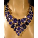 Blue sapphire. Lavish 925 sterling silver necklace.