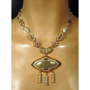Esmeraldas y topacios. Collar en plata sólida contrastada 925 y bronce.