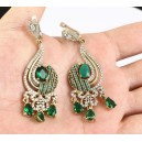 Emerald and topaz. 925 Contrasted solid sterling silver and bronze earrings.