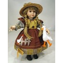 Peasant porcelain doll 42 cm. tall with support