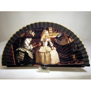 """Abanico del famoso cuadro de Diego de Velázquez """"Las Meninas"""". Impresión adaptada en madera."""
