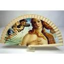 """Abanico del famoso cuadro de Sandro Botticelli """"El nacimiento de Venus"""". Impresión adaptada en madera."""