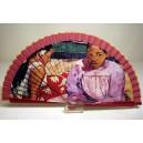 """Abanico del famoso cuadro de Paul Gaugin """"Mujeres de Tahití"""". Impresión adaptada en madera."""