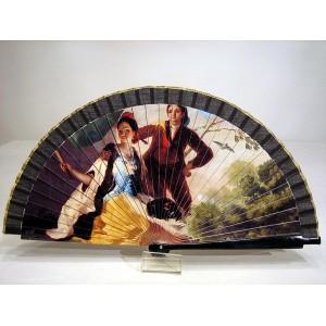 """Abanico del famoso cuadro de Francisco de Goya """"El quitasol"""". Impresión adaptada en madera."""