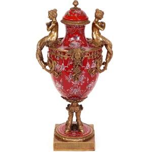 Jarrón balaustre, 52 cm. Estilo Luís XV barroco rococo en porcelana y bronce.