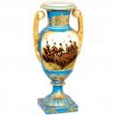 Jarrón balaustre de porcelana y loza, 55 cm. Estilo imperio napoleónico.