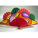Hand painted wooden fan of abstract inspiration