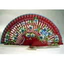 Wooden fan  hand painted on both sides