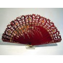 Completely wooden fan (BARAJA) hand painted on both sides