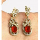 Ruby, topaz, 925 solid sterling silver and bronze earrings.